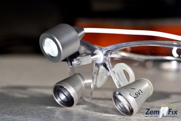LED-Lampen-Halterung (Alu/Edelstahl) für dentale Lupenbrille (extrem leicht - nur 3g)